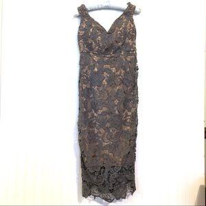 DO + BE NWT Gray Lace Nude Underlay Dress